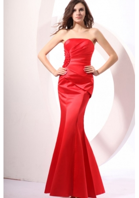 Brand New Strapless Mermaid Red Ruched Dress For Prom Court