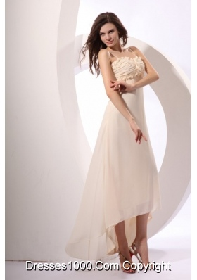 Champagne High-low Chiffon Prom Gown Dress with Hand Flowers