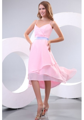 Cheap Baby Pink High-low Prom Gown Dress with Lavender Sash