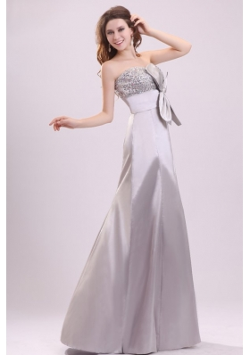Column Strapless Beaded Grey Taffeta Prom Dresses with Bowknot