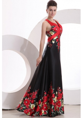 Modest Column V-neck Satin Prom Gown Dress with Criss Cross