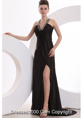 Black V-neck Beaded High Silt Prom Gown Dress with Brush Train