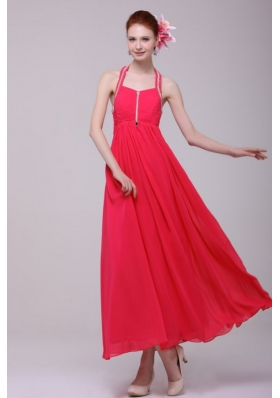 Hot Empire Halter Top Red Ankle-length Prom Dress with Beading