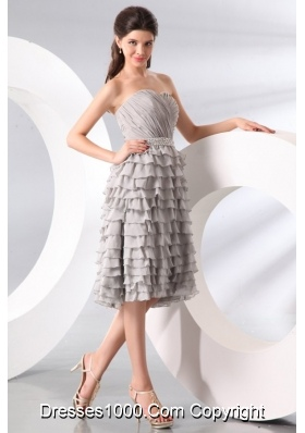 Gray Ruffled Sweetheart Dresses For Prom Princess in Knee-length