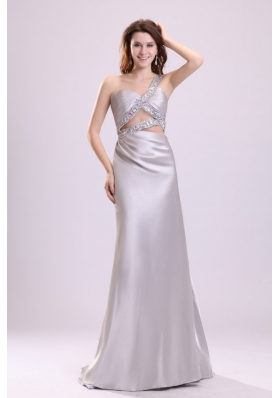 Grey One Shoulder Beaded Prom Maxi Dress with Watteau Train
