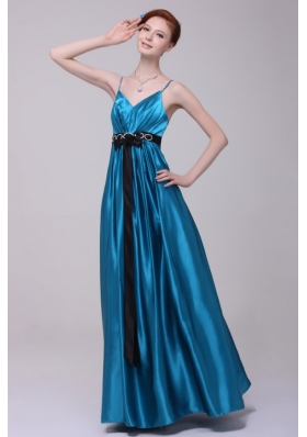 Satin Teal New Style Dress For Prom Princess for 2014 with Beading