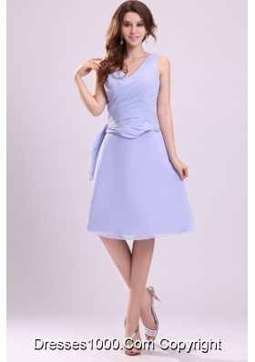 Lavender Chiffon A-line V-neck Knee-length Prom Pageant Dresses