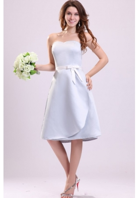 Light Blue Sweetheart A-line Knee-length Prom Maxi Dress with Sash