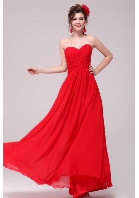 Low Price Red Sweetheart Chiffon Prom Dress 2014 with Ruches