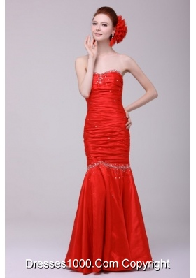 Mermaid Strapless Red 2014 Dress For Prom Queen with Beading