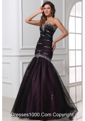 Mermaid Purple Tulle 2014 Perfect Prom Party Dress with Beading
