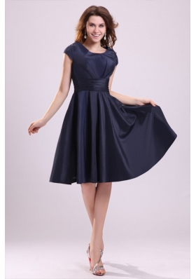 Navy Blue Scoop A-line Knee-length Dresses For Prom Night 2015
