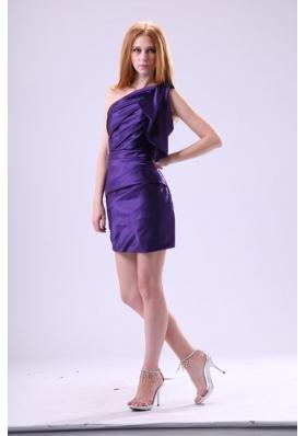 Purple Column One Shoulder Prom Graduation Dress in Mini-length