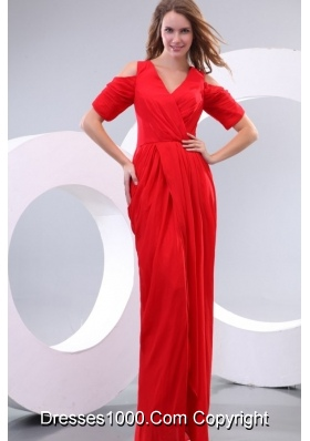 Red Column V-neck Short Sleeves Prom Maxi Dress with High Silt