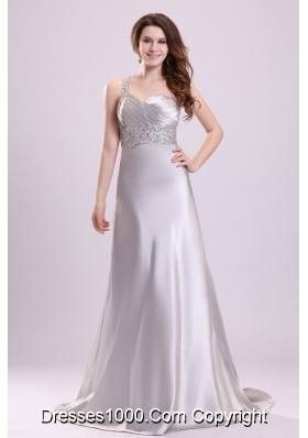 Sexy Column One Shoulder Brush Train Grey Beaded Prom Gown