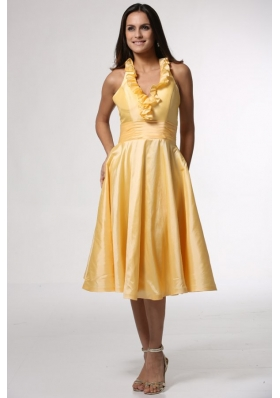 Simple Halter Top Yellow Tea-length Prom Gown Dress with Ruffles
