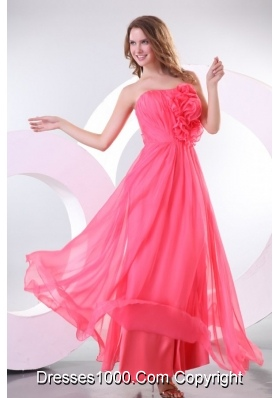 Strapless Chiffon Empire Long Prom Pageant Dresses with Ruche