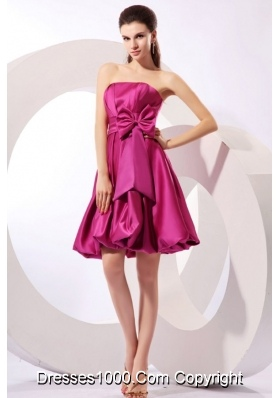 Strapless Fuchsia A-line Knee-length JS Prom Dress with Bowknot