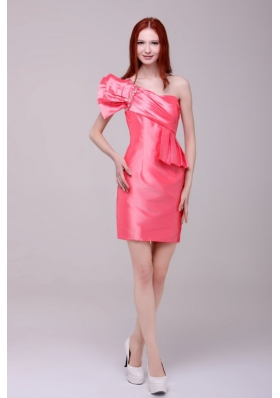 Watermelon Red One Shoulder Taffeta Prom Dresses with Ruching
