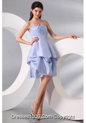 Short Mini Length Strapless Pick-ups Lavender Taffeta Prom Dress