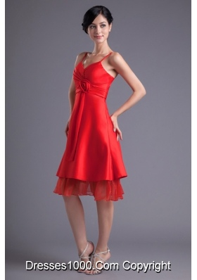 Flowers Straps Layers Red Prom Bridesmaid Dresses on Sale
