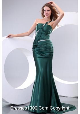 Celebrity-inspired Style Trumpet One Shoulder Emerald Green Prom Dress