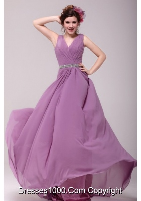 Ruching V-neck Chiffon Beaded Waist Lilac Prom Gown for Girls