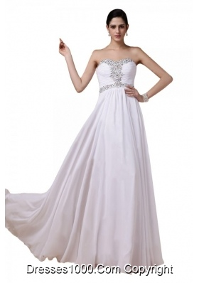 Popular White Chiffon Empire Beaded Sweetheart Prom Dresses