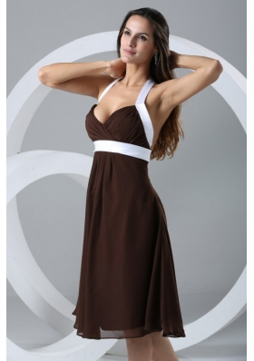Special Brown and White Halter Top Chiffon Knee-length Prom Dress