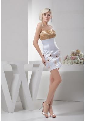 Pretty Sheath Column Champagne and White Mini-length Cocktail Dresses
