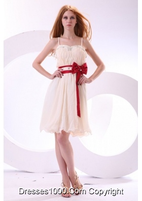 Sweet Champagne Mini-length Chiffon Prom Cocktail Dress For Girls