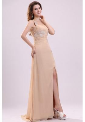 Popular High Slit One-shoulder Appliqued Champagne Long Prom Dress