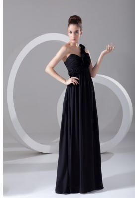 On Sale One-shoulder Black Chiffon Prom Dress with Empire Waist