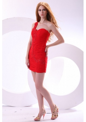 Sexy Red One Shoulder Chiffon Appliques Mini-length Prom Dress