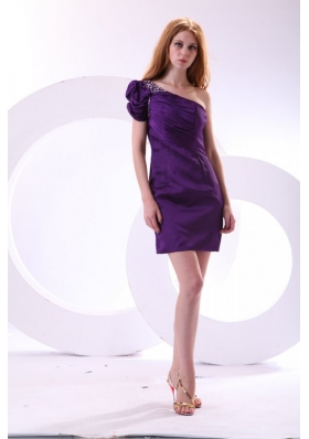 Discount Purple Column One Shoulder Mini-length Taffeta Prom Dress