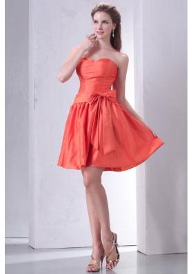 Bowknot Sash Sweetheart Orange Taffeta Short Prom Gowns