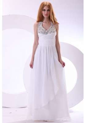 Halter V-neck Full-length Chiffon Beaded White Formal Prom Gown