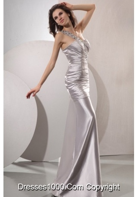 Fashionable Ruched Column Prom Gowns with Beaded One Shoulder