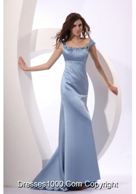 Light Blue Ruched Cap Sleeveless Prom Gown with Brush Train