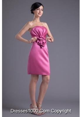 Rose Pink Strapless Flowers Taffeta Dresses for Prom Princess