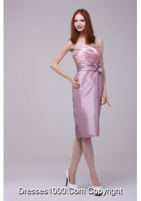 Pearl Pink Sheath Column Sweetheart Ruched Short Prom Gowns