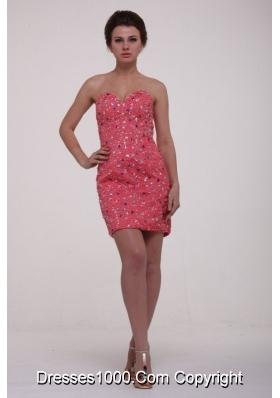 Beaded Sweetheart Watermelon Detachable Train Prom Gown