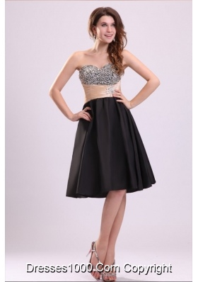 2014 Sweetheart Black Short Prom Nightclub Dress with Beads
