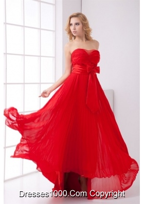 Flowy Sweetheart Empire Full-length Red Prom Gown with Bowknot