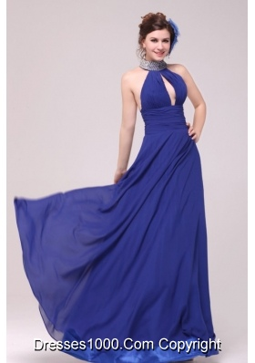 Magnificent Beaded Halter Top Neck Brush Train Blue Prom Dress
