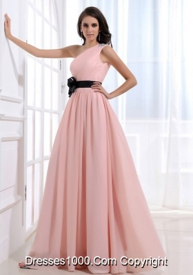 Sash One Shoulder Beads Chiffon Empire Prom Pageant Dress