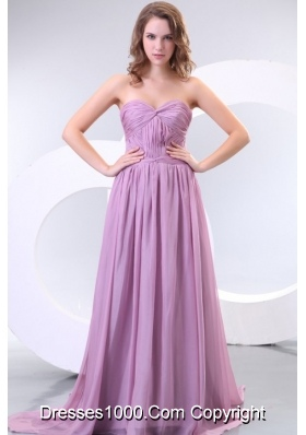 Unique Lilac Chiffon Sweetheart Prom Dress with Ruche and Train