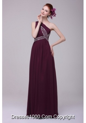 Affordable Chiffon Beaded One Shoulder Prom Dresses with Ruche