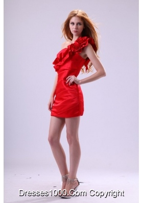 Mini-length Sheath Column One-shoulder Red Prom Homecoming Dress