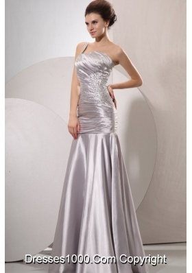 Attractive One Shoulder Silver Prom Dress with Beading and Ruching
